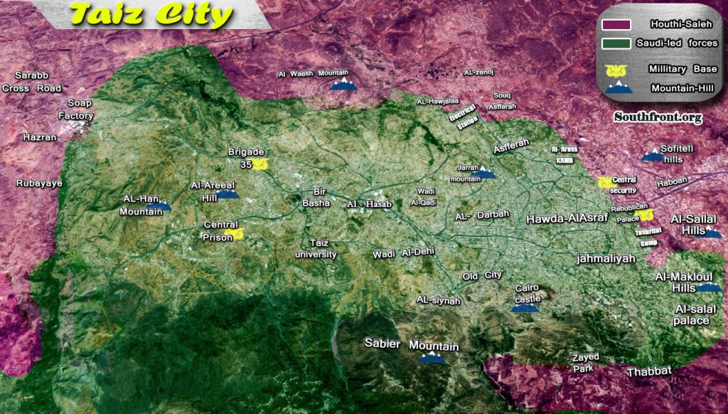 Military Situation In Yemeni City Of Taiz On June 20, 2017 (Map Update)