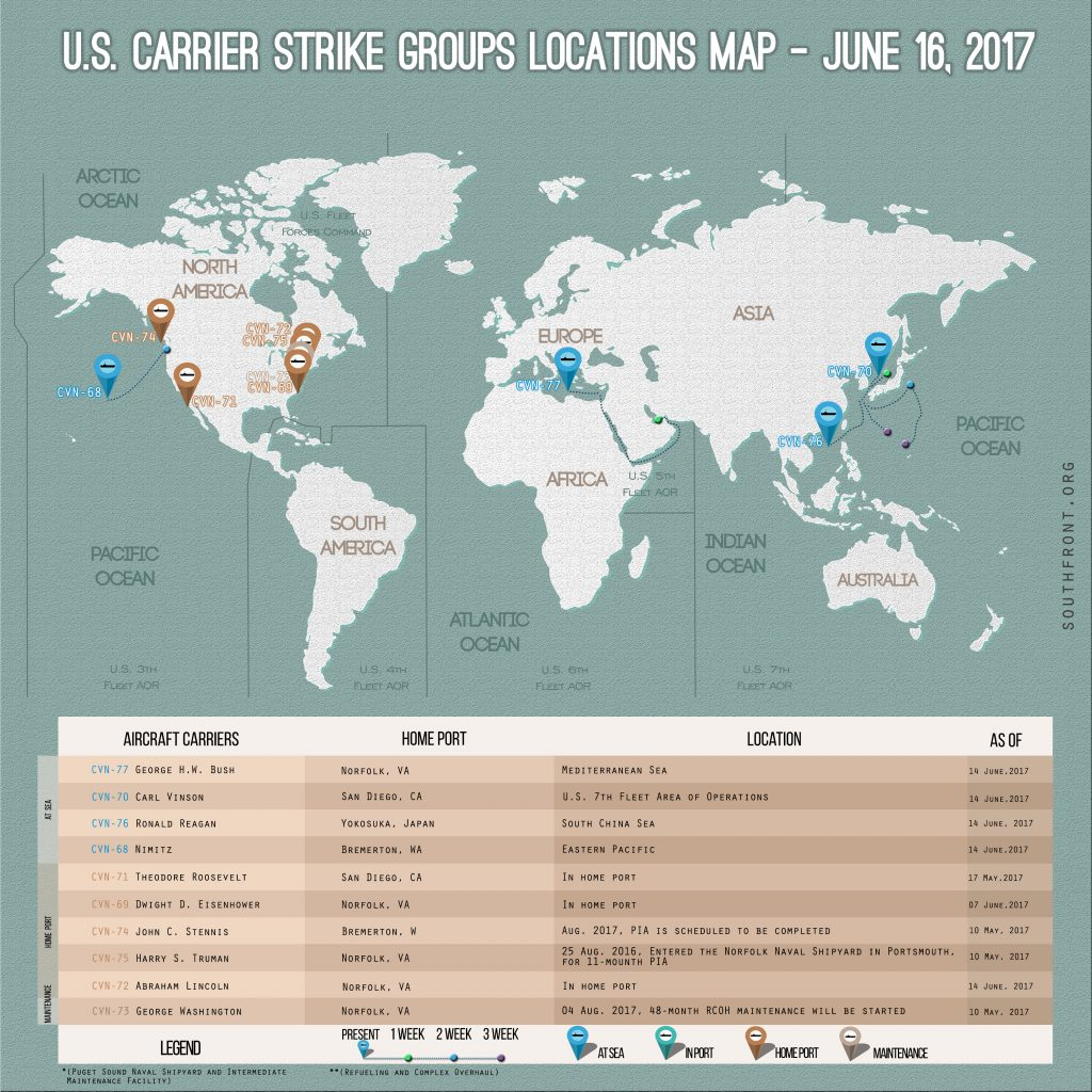 US Carrier Strike Groups Locations Map – June 16, 2017