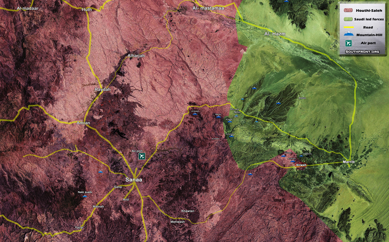 led Forces Advancing East Of Yemeni Capital of Sanaa Map Update