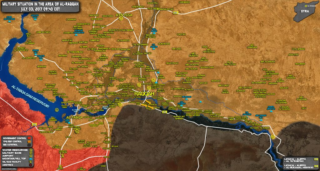 Military Situation In Raqqah Countryside On July 3, 2017 (Map Update)