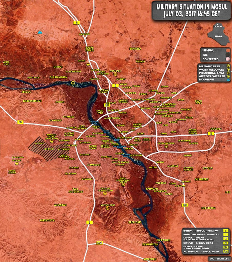 Military Situation In Iraqi City Of Mosul On July 3, 2017 (Map Update)