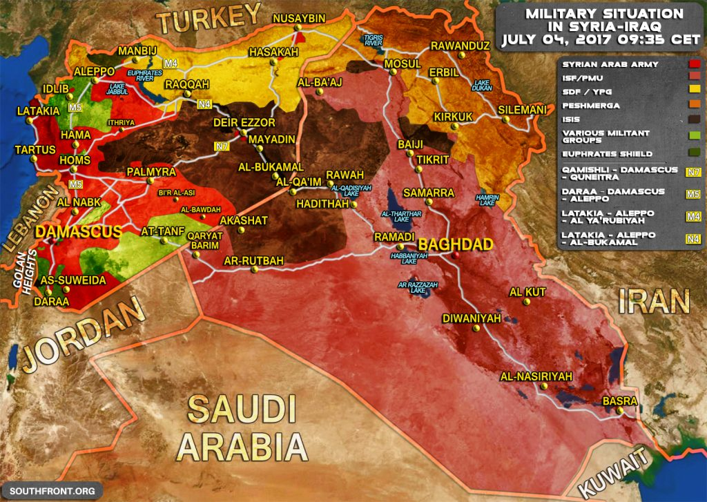 Military Situation In Syria And Iraq On July 4, 2017 (Map Update)