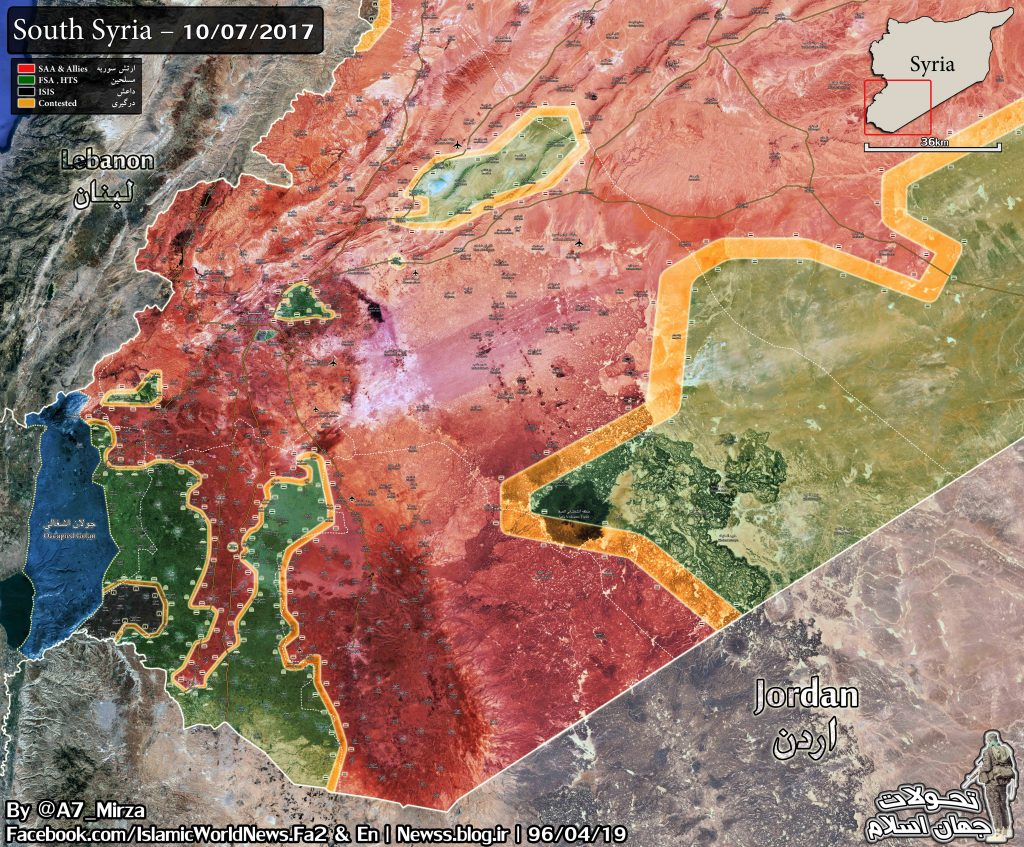 Military Situation In Southeastern Syria On July 10, 2017 (Maps)