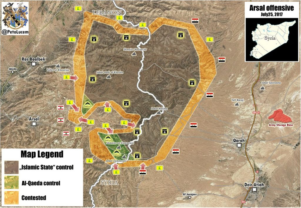 Interim Result Of Hezbollah Military Operation In Arsal Area (Map Update)