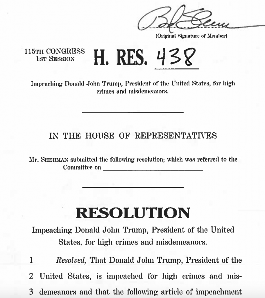 It's Official: Impeachment Resolution against President Donald J. Trump. H. RES. 438