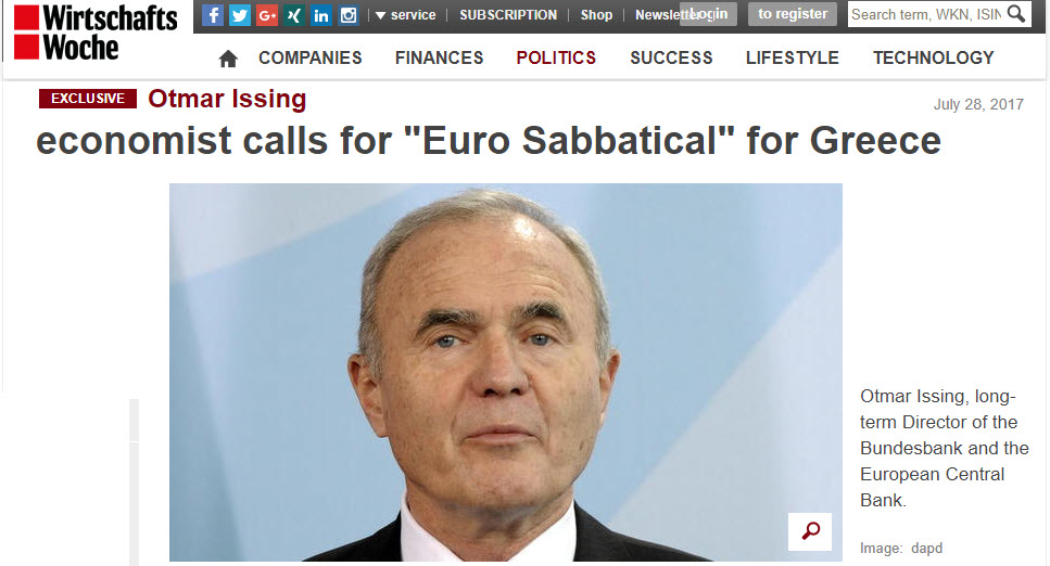 """""""The Euro Crisis Is Not Over"""" Former ECB Chief Economist Urges """"Greek Sabbatical From EU"""""""