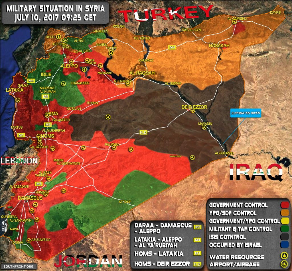 Military Situation In Syria On July 10, 2017 (Map Update)