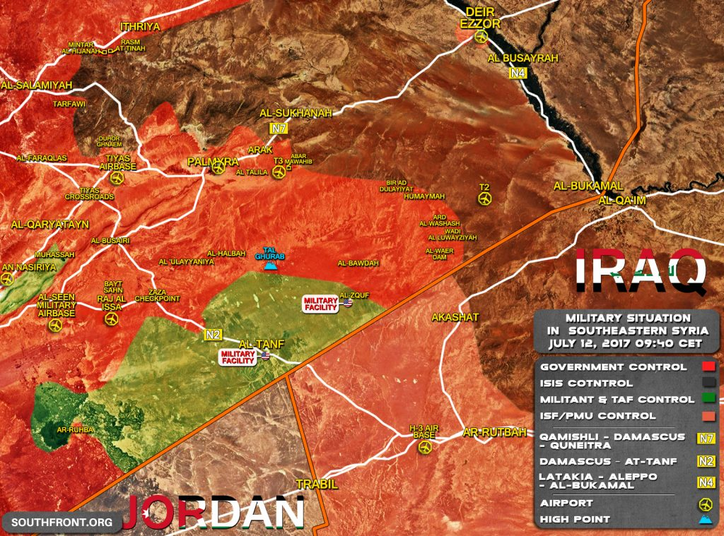 Military Situation In Southeastern Syria On July 12, 2017 (Map Update)
