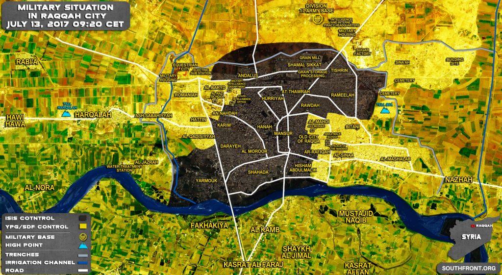 Situación militar en la ciudad siria de Raqqah El 13 de julio de 2017 (actualización del mapa)