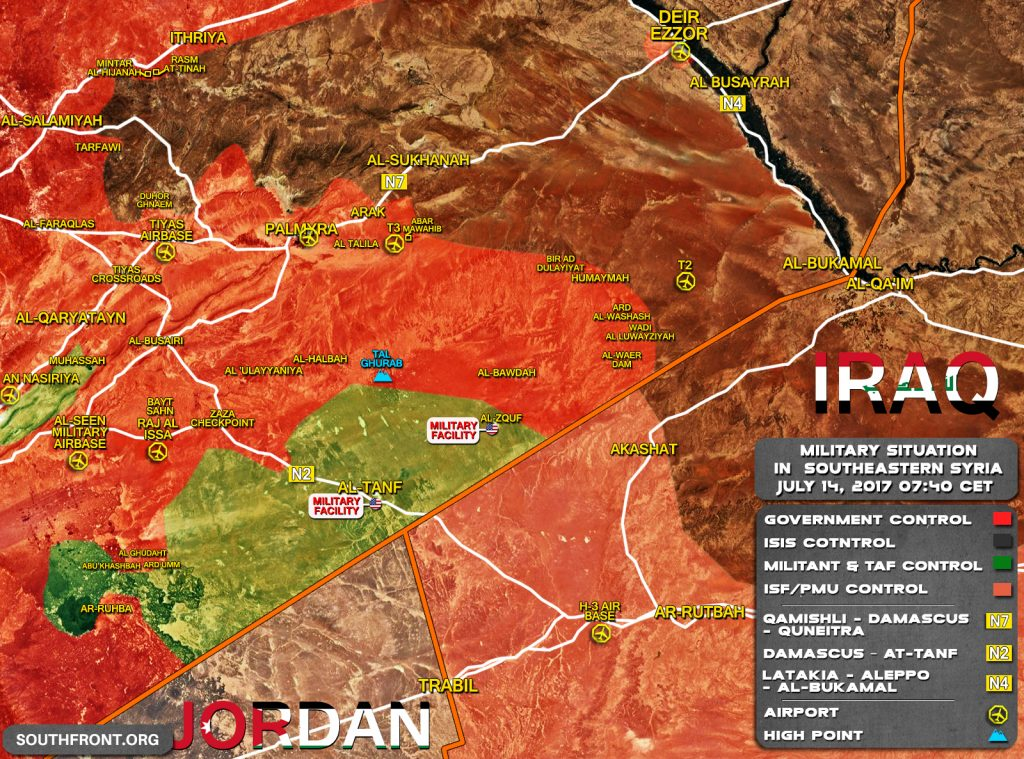 Military Situation In Southeastern Syria On July 14, 2017 (Map Update)