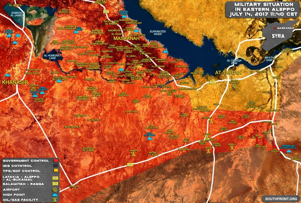 シリア軍がResafa-Sukhna道路を進んでBir al-Zamlah Crossroadに到着(地図更新)