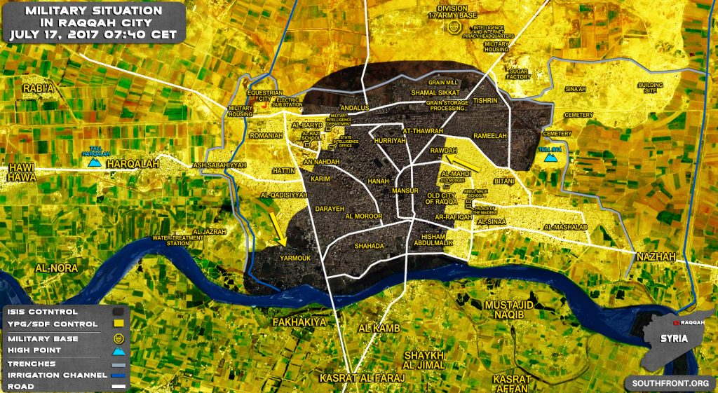 Military Situation In Syrian City Of Raqqah On July 17, 2017 (Map Update)