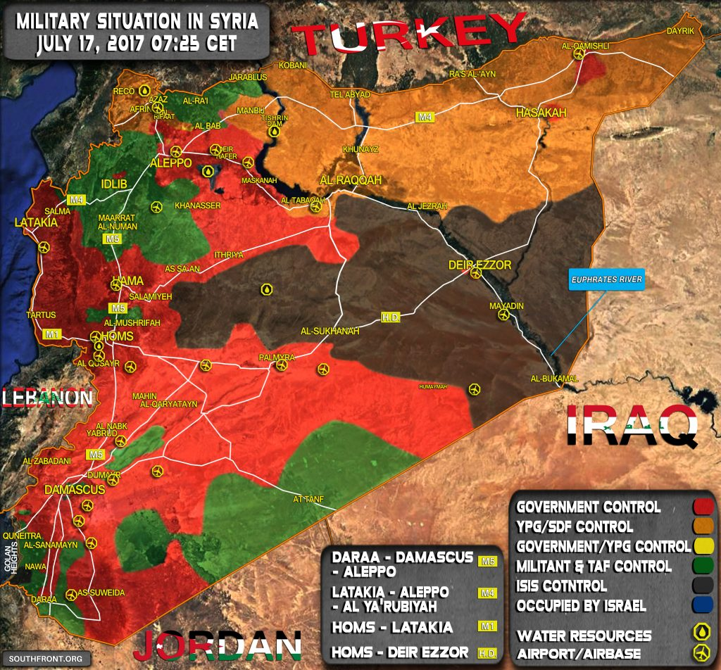 Military Situation In Syria On July 17, 2017 (Map Update)