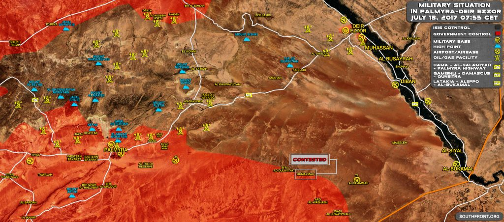 Map Update: Government Forces Progress Towards Sukhna And Deir Ezzor