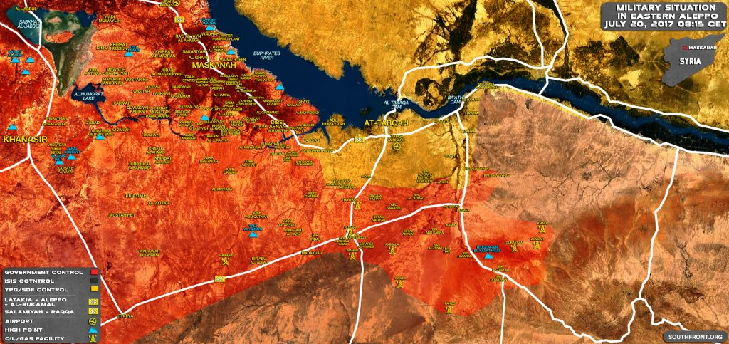 Military Situation In Provinces Of Aleppo And Raqqah On July 20, 2017 (Syria Map Update)