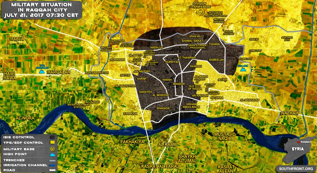 Military Situation In Syrian City Of Raqqah On July 21, 2017 (Map Update)