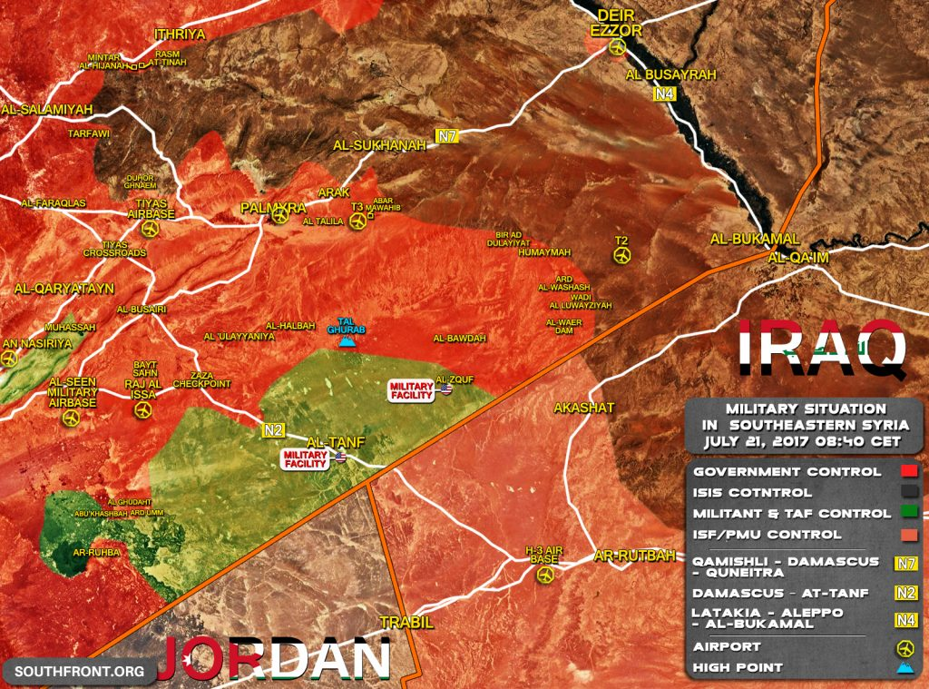 Military Situation In Southeastern Syria On July 21, 2017 (Map Update)