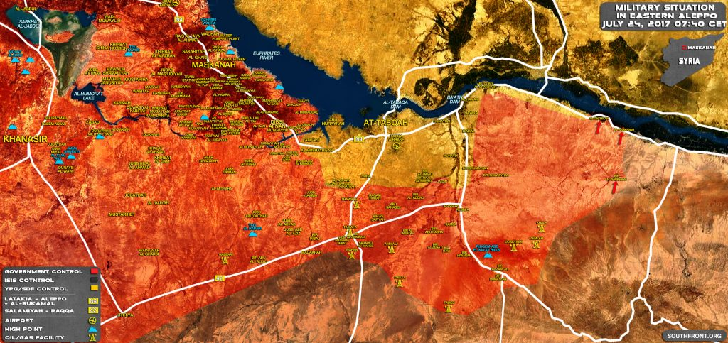 Military Situation In Eastern Aleppo And Southern Raqqah After Recent Advances Made By Government Forces (Map)