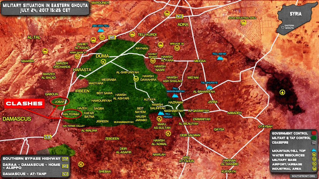 Military Situation In Eastern Ghouta Region Near Damascus On July 24, 2017 (Map Update)