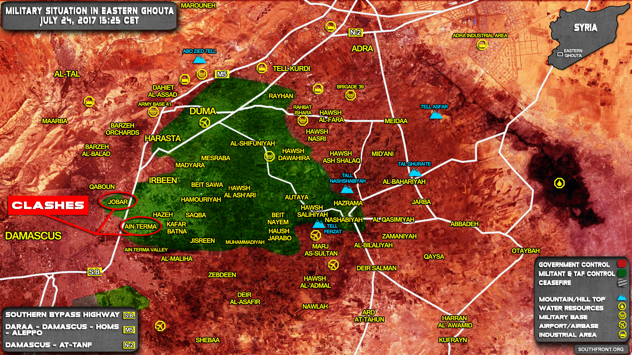 military situation in eastern ghouta region near damascus on july 24 2017 map update