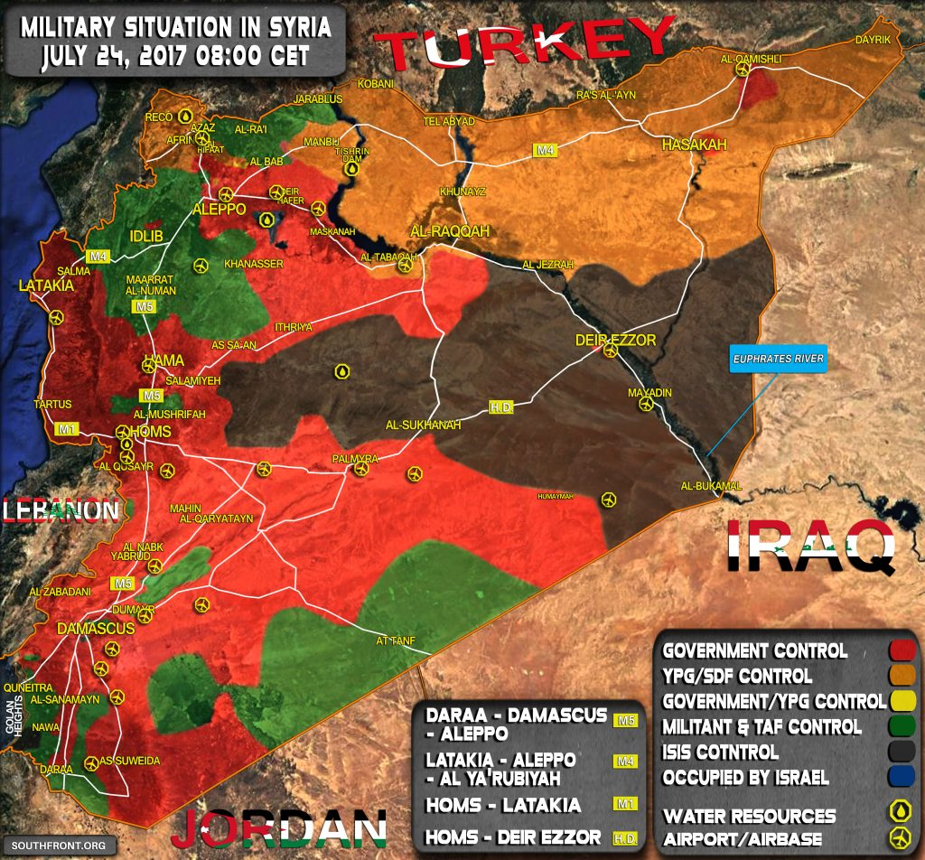 Military Situation In Syria On July 24, 2017 (Map Update)