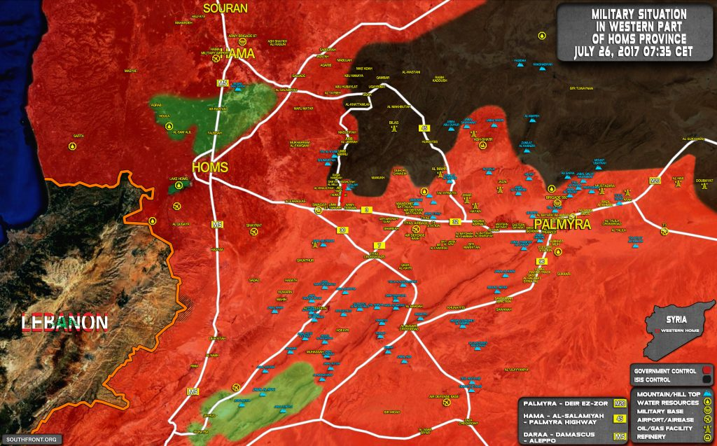 Military Situation In Palmyra Countryside On July 26, 2017 (Map Update)