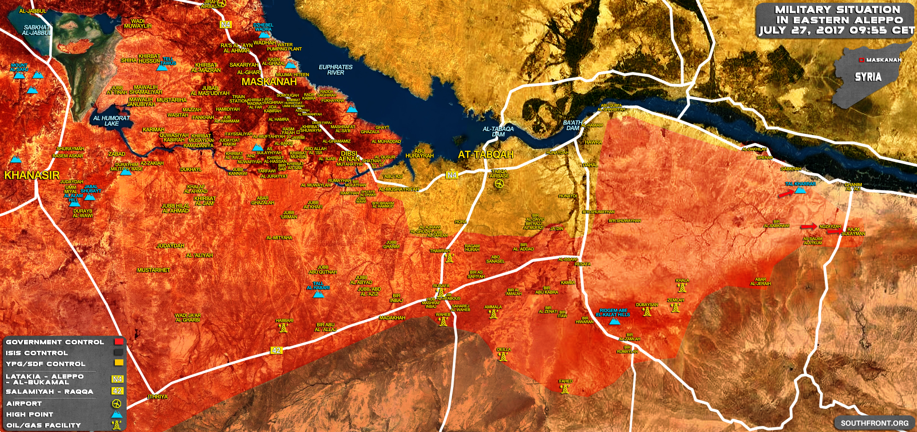 map update military situation in southern raqqah and eastern aleppo after recent tiger forces advances