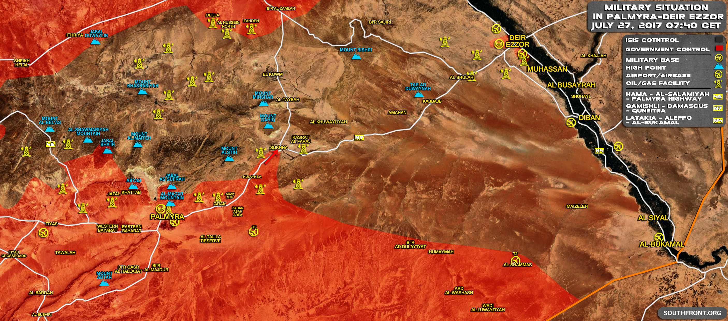 Syrian Army Allies Stroming Isis Stronghold Of Sukhna Map Update