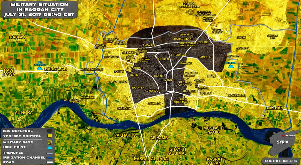 Military Situation In Raqqah City On July 31, 2017 (Map Update)