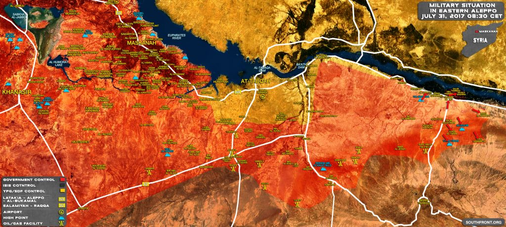 Military Situation In Southern Raqqah And Eastern Aleppo On July 31, 2017 (Map Update)