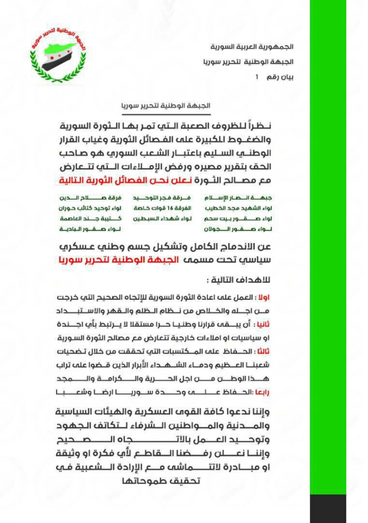 11 Groups Of Free Syrian Army Formed New Alliance In Southern Syria