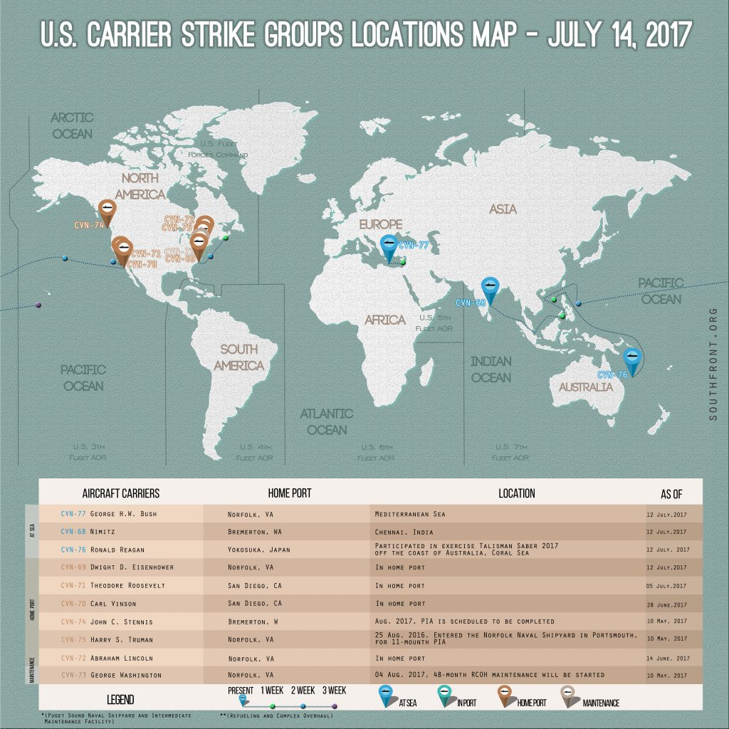 US Carrier Strike Groups Locations Map – July 14, 2017