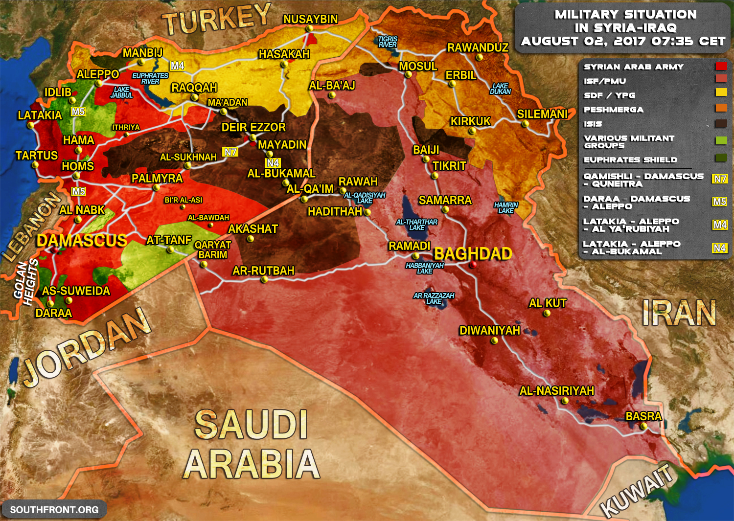 Military situation in syria and iraq on august 2 2017 map update gumiabroncs Gallery