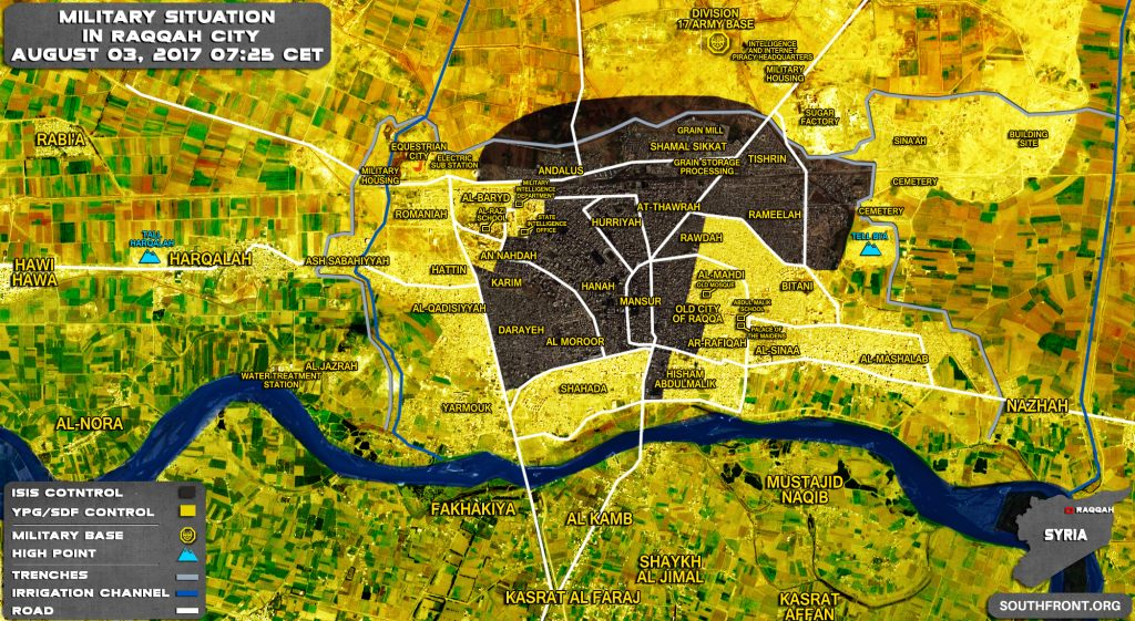 Military Situation In Syrian City Of Raqqah On August 3, 2017 (Map Update)