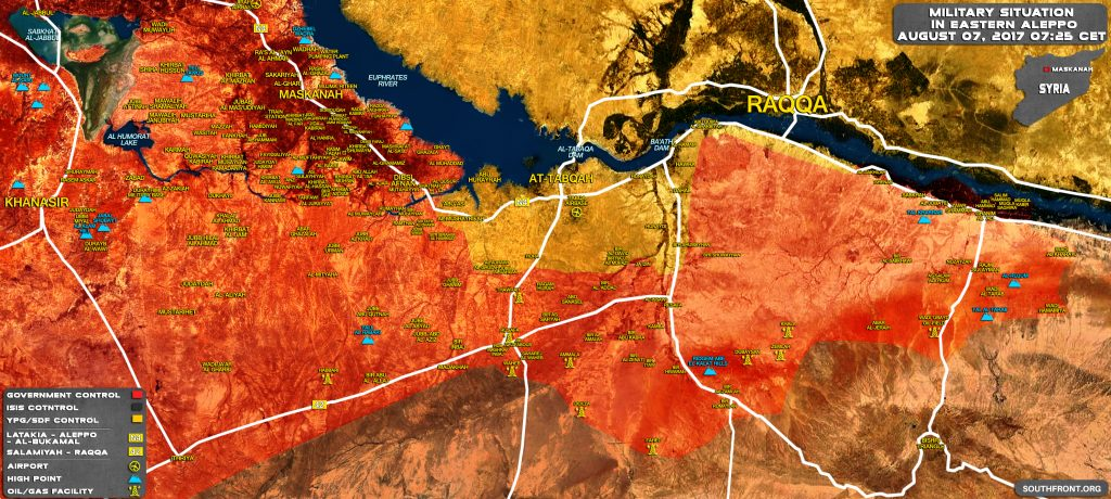 Military Situation In Eastern Aleppo And Southern Raqqah On August 7, 2017 (Map Update)