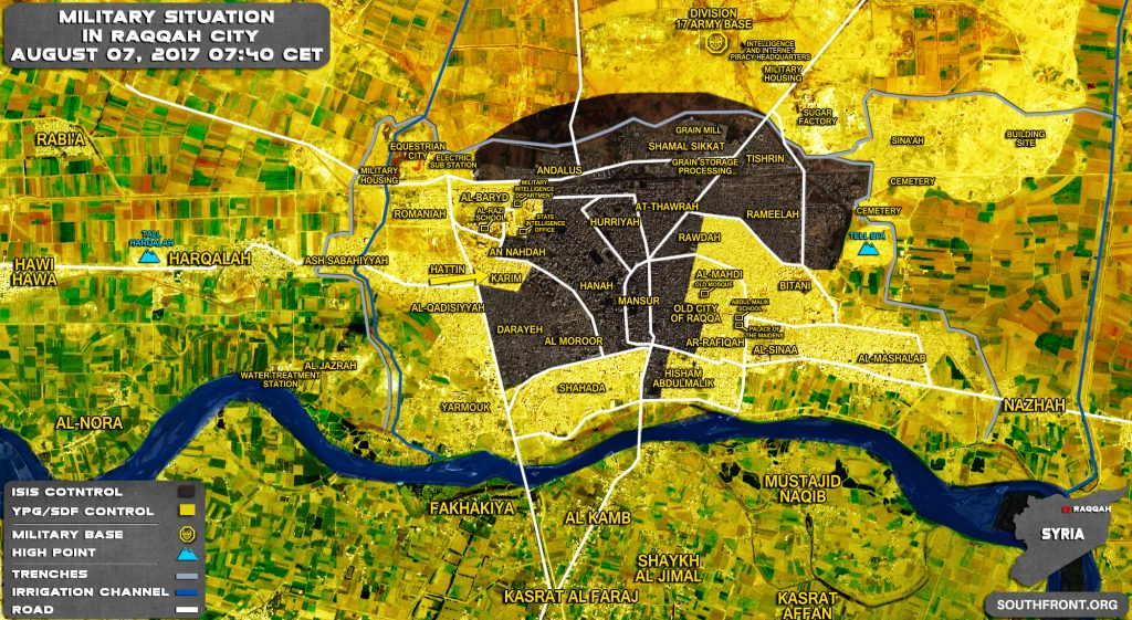 Military Situation In Syrian City Of Raqqah On August 7, 2017 (Map Update)