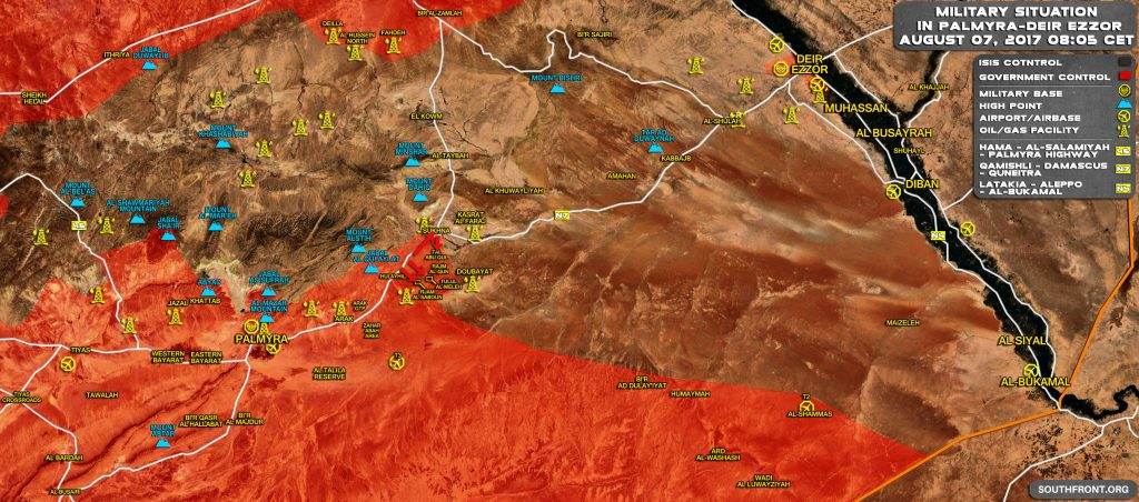 Military Situation In Central Syria On August 7, 2017 (Map Update)