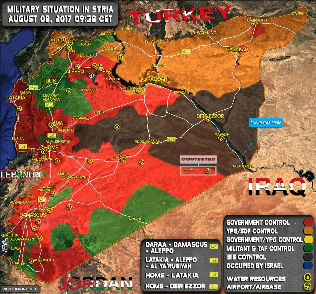 Military Situation In Syria On August 8, 2017 (Map Update)