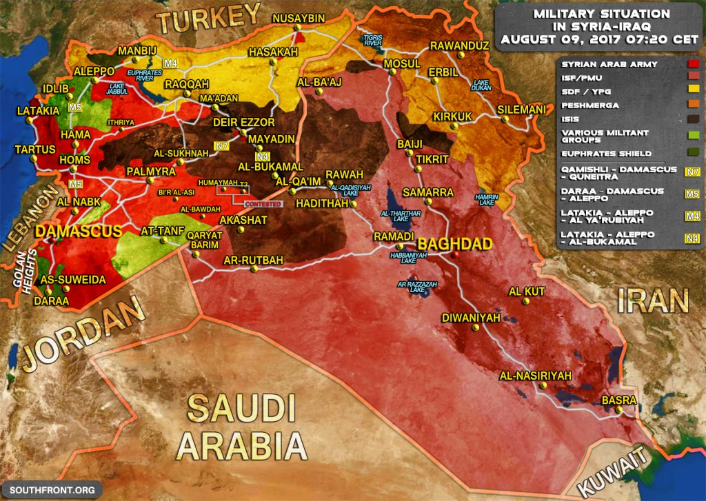 Military Situation In Syria And Iraq On August 9, 2017 (Map Update)