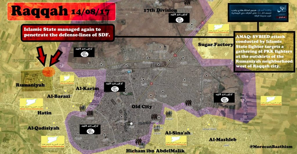 ISIS Activity In Raqqah City On August 14, 2017 (Map Update)