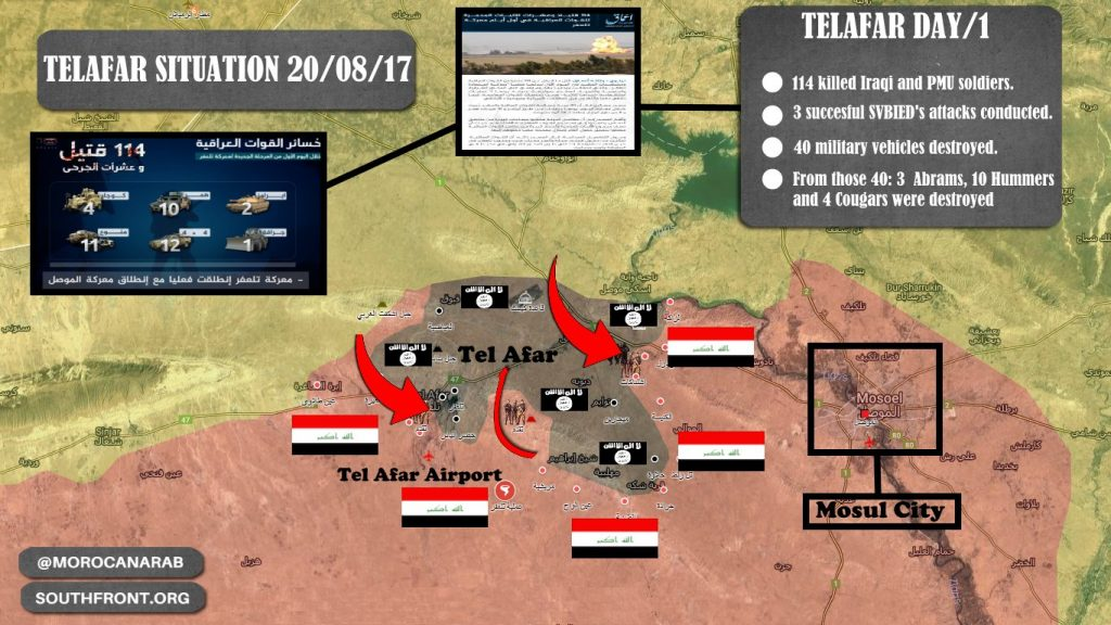 ISIS Claims 3 Successful SVBIED Attacks Against Advancing Iraqi Forces In Tal Afar Area