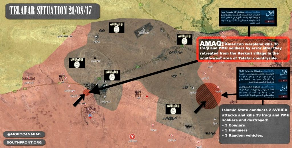 ISIS Claims US-led Coalition Accidentally Bombed PMU Fighters Near Tal Afar