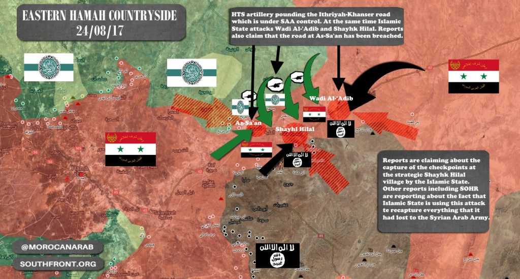 ISIS And 'Moderate Rebels' Unite Efforts Against Syrian Army In Eastern Hama Countryside. Govt Forces Counter-Attack