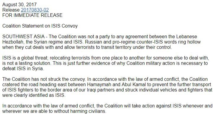 US-led Coalition Bombed ISIS Convoy Heading From Qalamoun To Deir Ezzor Province Under Deal With Lebanon - Reports