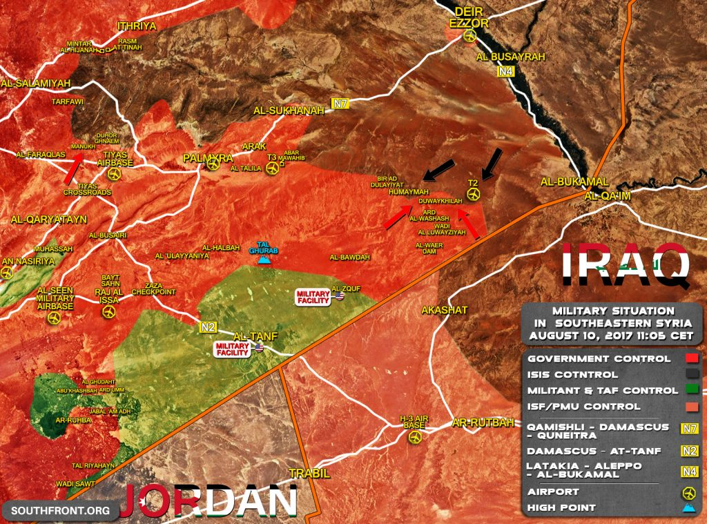 Military Situation In Southeastern Syria On August 10, 2017 (Map Update)