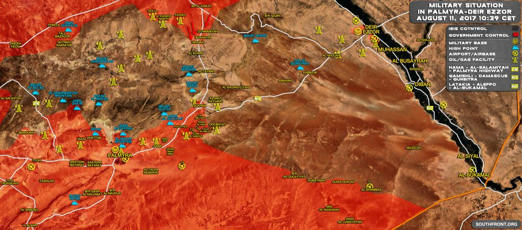 Military Situation In Central Syria Following Recent Government Forces Advance From Raqqah Province Towards Sukhna
