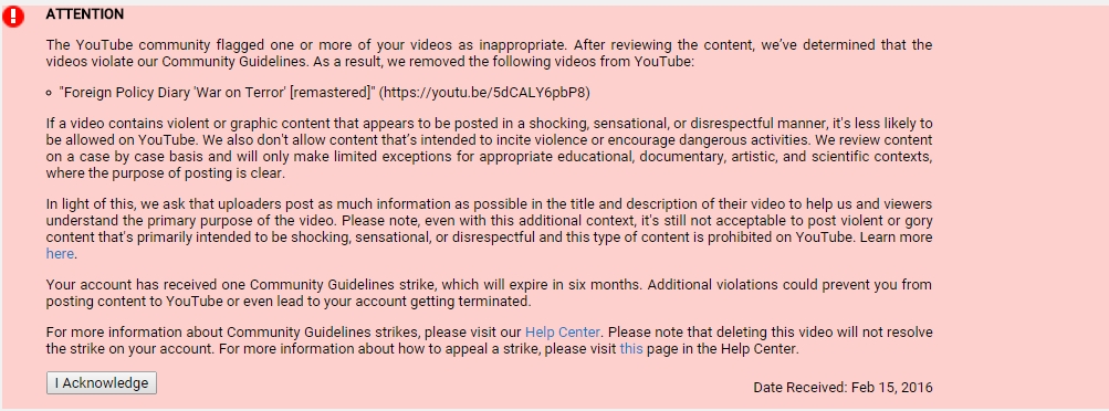 Censorship On Youtube: SouthFront Channel Is Again Under