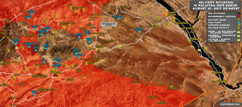Military Situation In Central Syria On August 21, 2017 (Map Update)