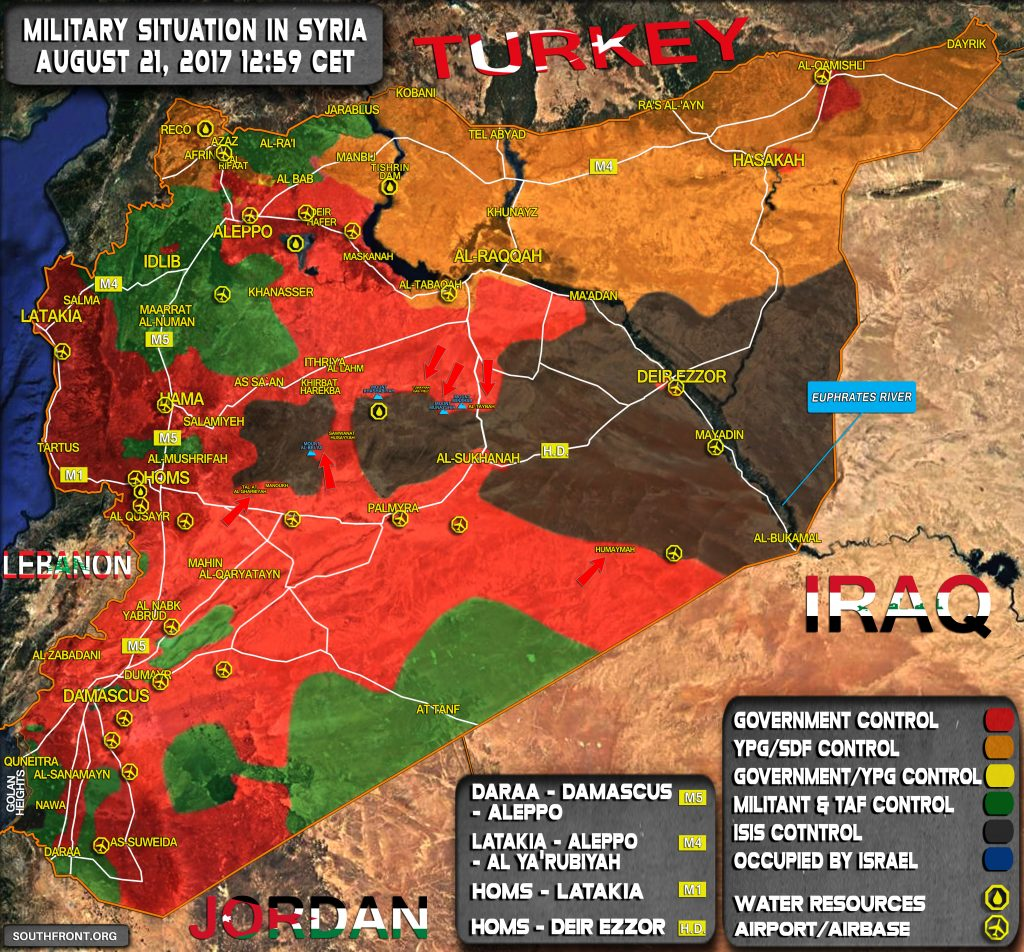 Situación militar en Siria El 21 de agosto de 2017 (actualización del mapa)