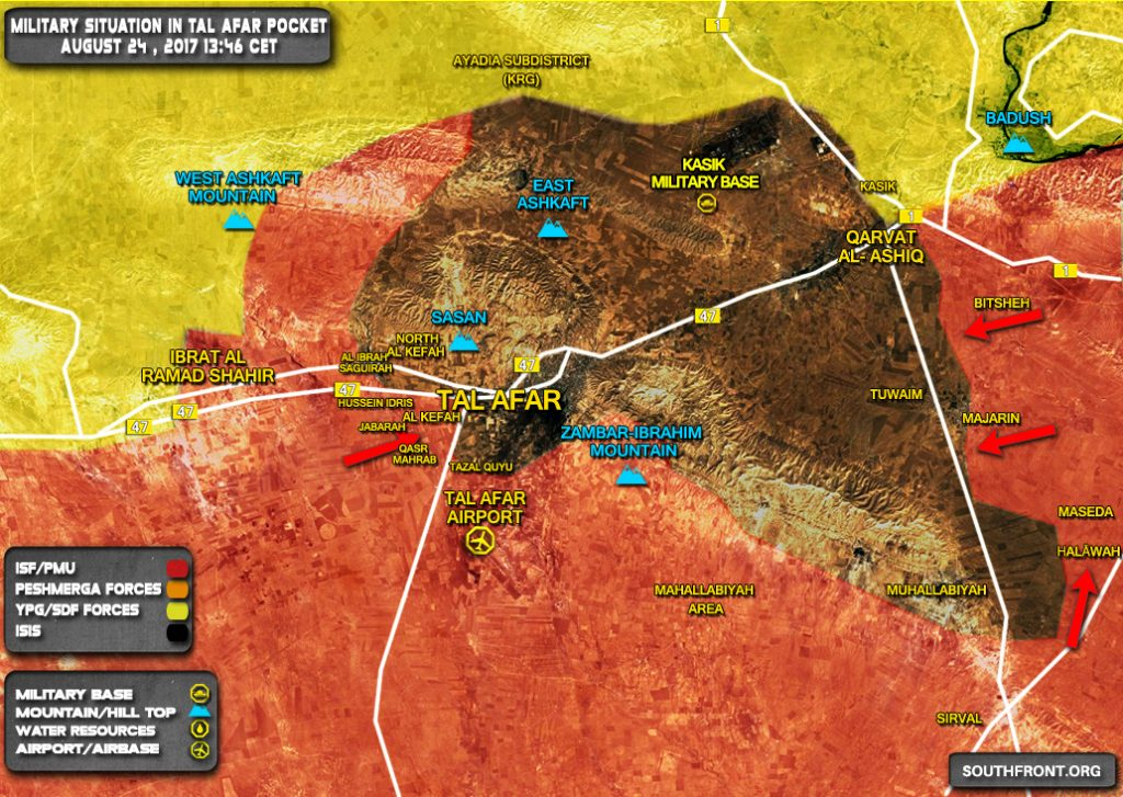 Military Situation In Tal Afar Area In Northern Iraq On August 24, 2017 (Map Update)